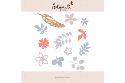 Flowers & Leaves - SVG and DXF Cut Files - for Cricut, Silhouette