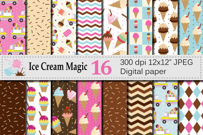 Ice cream Digital paper / Summer patterns / Ice cream backgrounds