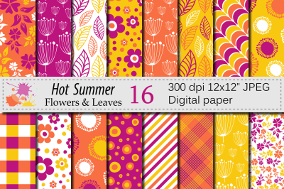 Summer Digital Paper, Orange and Yellow Flowers and Leaves patterns