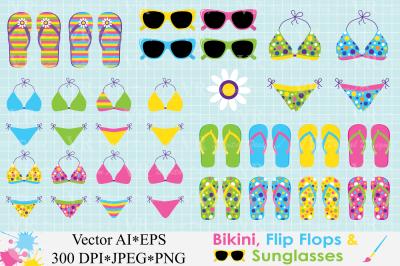 Bikini, Flip Flops, Sunglasses Clipart / Summer vector illustrations