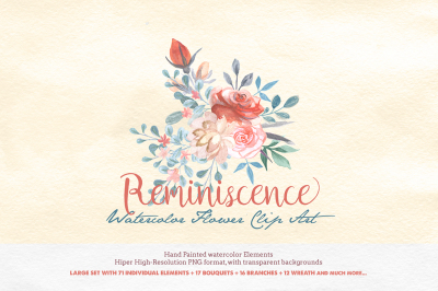 Watercolor Floral Clipart - Reminiscence