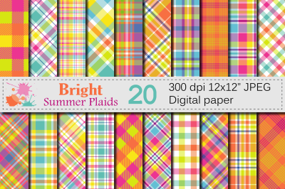 Bright Summer Plaid Digital Paper / Bright Plaid patterns