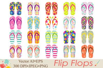 Flip Flops Clipart / Beach shoes graphics / Summer vector illustration