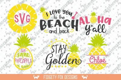 Pineapple SVG Monogram Bundle,Summer Svg Bundle, Aloha Beach svg