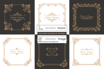 Squared decorative baroque frames