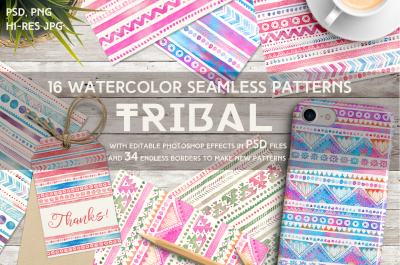 Tribal Watercolor Seamless Patterns