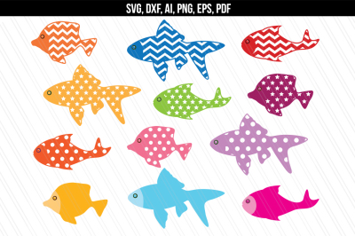 Fish svg dxf cutting files