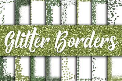 St Patricks Day Glitter Borders Digital Paper