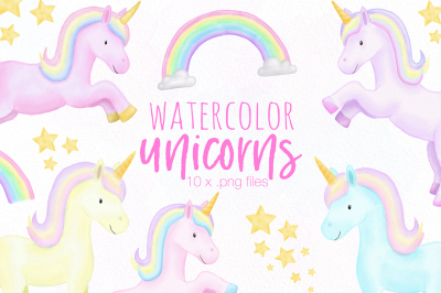 Watercolor Unicorn Clipart Illustrations