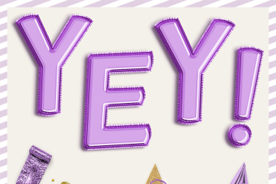 Violet Balloon Alphabet Clipart