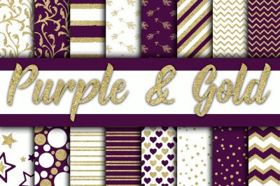 Purple and Gold Glitter Digital Paper