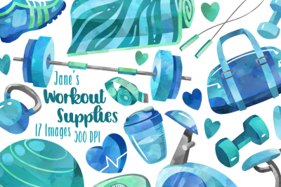 Watercolor Workout Clipart