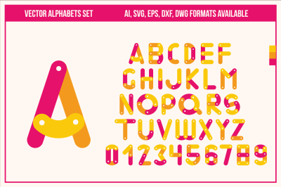 Vector Alphabets Set in Ai, SVG, EPS, DXF, DWG Formats