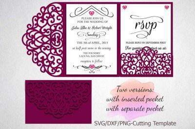 Tri Fold Wedding Invitation Pocket Envelope SVG Template, Tri Fold