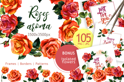 Paradise roses PNG watercolor flower set