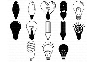 Lightbulbs Svg, Light Bulb Monogram SVG files. Light Bulb Cliparts