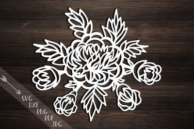 peonies svg, cutting template, peony papercutting, hand cutting