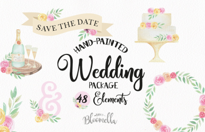 Wedding Watercolor Clipart Kit 48 Elements & Hand Drawn Cakes