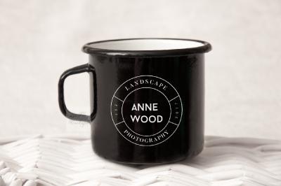 Black Camping mug enamel metal cup mock up template scout mockup psd