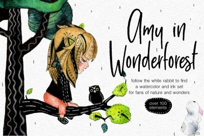 Amy in Wonderforest - hand drawn set