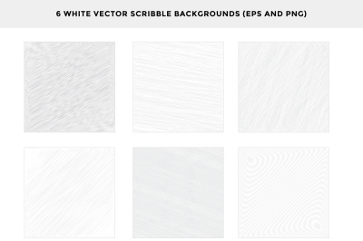 6 White Vector Scribble Backgrounds@just $1