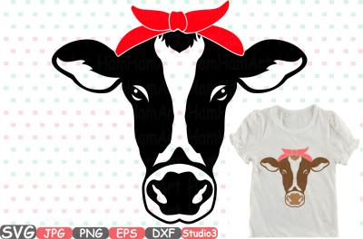 Cow Head Silhouette SVG cowboy western Farm animal 768S