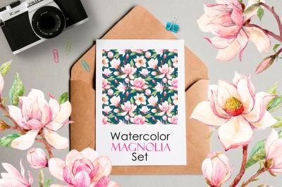 Watercolor Magnolia Set (EPS+PNG+PSD)