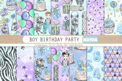 BOY BIRTHDAY PARTY digital papers