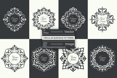 Vector circular baroque patterns