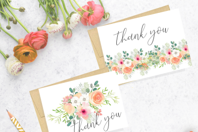 Thank you cards, Printable, Summer Elegance collection