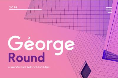 George Sans Round- 8 Fonts Geometric Typeface