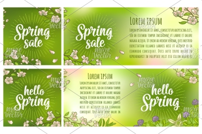 Hello Sale Spring lettering. Vector color vintage engraving on green a