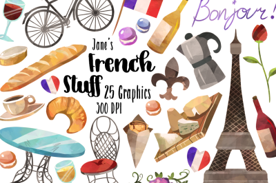 Watercolor French Culture clipart
