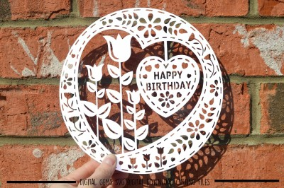 Happy Birthday paper cut SVG / DXF / EPS files