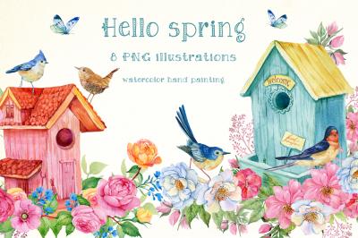 Hello spring watercolor illustration