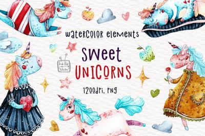 Watercolor sweet unicorn