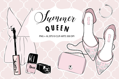 Summer Queen Make-up Clipart Collection