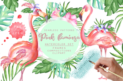 Pink flamingo watercolor set