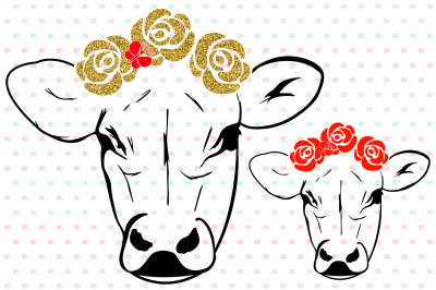 Cow with Flowers Silhouette SVG Bandanna Flower Heifer Iron 74sv