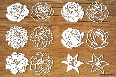 Flowers set 2 SVG files for Silhouette Cameo and Cricut.