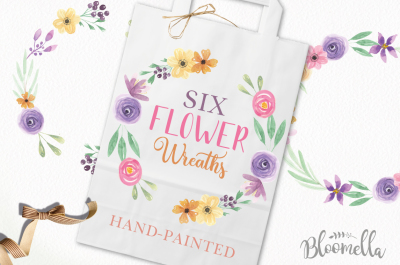 Watercolor Flower Wreath Set Hand Painted Garlands Clipart