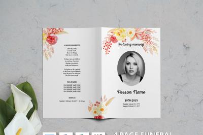 Watercolor Flower Funeral Brochure