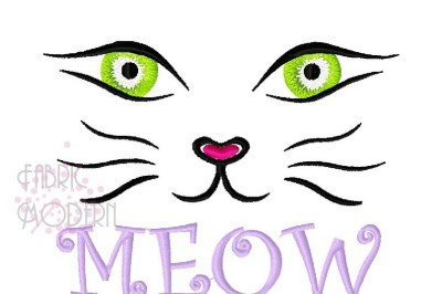 Cat face embroidery design meow kitty face cute girl t-shirt design em