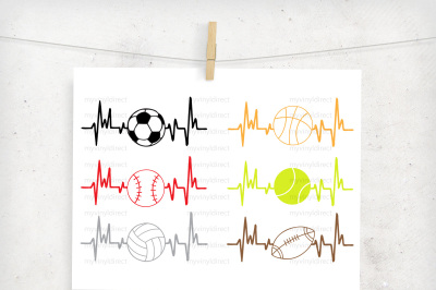 Sports Heartbeat Pack (set of 6) Digital Cutting Files