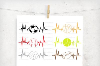 Sports Heartbeat Pack (set of 6) Digital Cutting Files