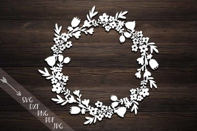 flower wreath paper cut, svg, Monogram flowers papercutting template
