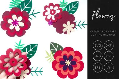 Layered SVG Cut Flower - Machine Cut Files