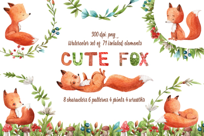 Cute Fox - Watercolor Clip Art Set