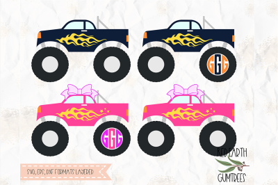 Monster truck SVG, PNG, EPS, DXF, PDF for cricut, cameo