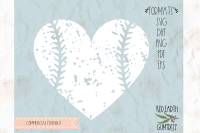 Distressed baseball heart SVG, PNG, EPS, DXF, PDF for cricut, cameo